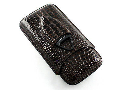 Dark Brown Crocodile Leather Travel Cigar Case Holder with Cigar Cutter