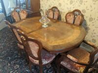 Dining table and 6 chairs with matching dresser/sideboard