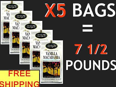 HAWAIIAN ISLES KONA VANILLA MACADAMIA NUT COFFEE – X5 – 24 oz Bags = 7 ½ POU
