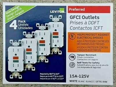 Leviton 15 Amp 125-Volt Duplex Self-Test Slim Gfci Outlet, White 4-Pack GFTR1-4W