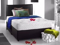 Brand New 4Ft 6 Double and 5 Ft King Size Divan Bed Base in White Black Color Orthopaedic Mattress