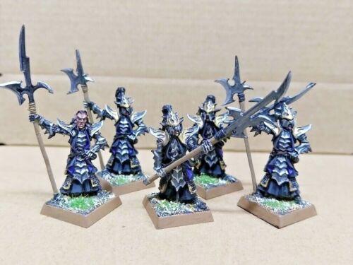 Warhammer Black Guard of Anvilgard Dark Elves painted figures x 5 pieces