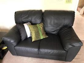 Black Leather Sofas 3 + 2 Very Good Condition