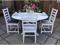 Extending Dining Table & 4 Chairs ~ White with Silver Grey Crushed Velvet Seats