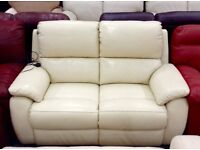 Luxury Ivory leather recliner two seater sofa brand new
