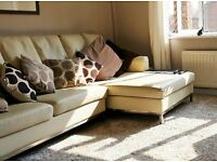 Modern Contemporary Stylish Cream leather and Chrome Settee