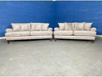Designer 'Harrington' Gilford Sable Mink Fabric Grande 3 Seater Sofa + 2 Seater Sofa Set