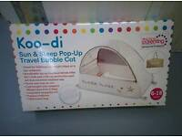 Koo-di Sun & Sleep Pop-Up Bubble Travel Cot as well as inflatable Matress (never used) to go with it