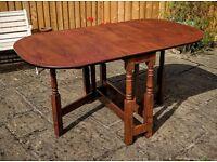 Vintage drop leaf / gate leg oak solid wood dining table