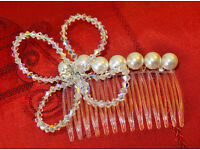 Stand out with this stunning handmade flower of AB crystals, diamonte and pearls on a comb