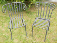 2 Sculptural Wrought Iron Garden Chairs - £50 the pair