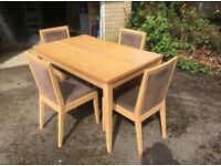 Light Oak Dining Table & 4 Comfy Chairs