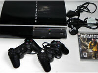 Sony PlayStation 3 40GB PS3 Black Console 2 Controllers, Games and Cables - Very Good Condition