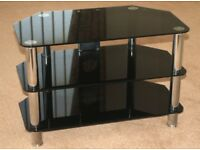 GLASS TV STAND Black & Chrome with three shelves for TV, DVD, Satalite Reciever etc.