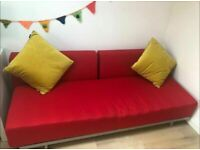 MUJI T2 Sofa Bed COST £750. 3 Seater Double Sofabed. Vibrant Red. VERY Latest Model + I CAN DELIVER