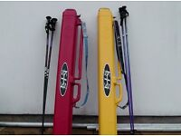 SKITUBES x 2 Pair of ski carriers in vg condition, protection while travelling. Poles included.