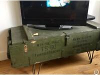 vintage army ammunition box crate trunk steamer storage coffee table tv unit console table