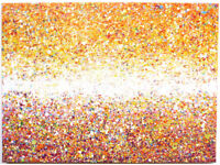 LARGE SPOT & DRIP MODERN WALL ART NEW ABSTRACT ORANGE YELLOW SUNSET CANVAS PAINTING   Free Delivery