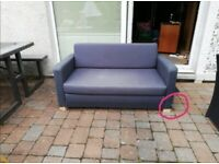 Blue fabric sofabed