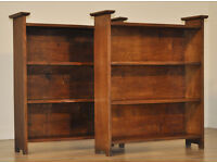 Attractive Small Pair of Two Vintage Arts & Crafts Oak Open Bookcases