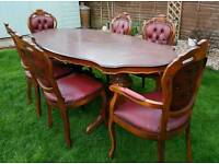 French Louis table & 6 chairs