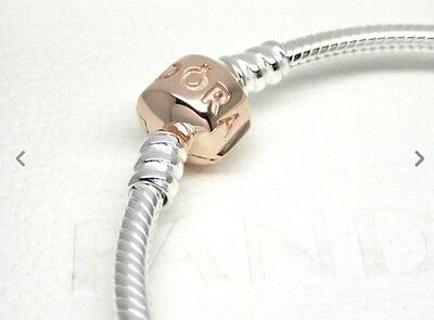 Authentic Pandora Sterling Silver Bracelet with Rose Gold Clasp 580702-19 19cm