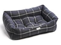 Brand New - Charcoal Silver Tartan Luxury Sofa Pet Dog Bed (Large)