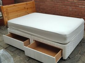 3/4 (queen) size bed base has 4 drawers + high quality mattress + pine wood headboard. Good conditio