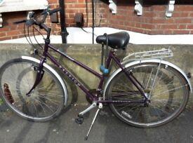 Beautiful purple ladies bike with D-lock and brand new helmet and repair kit included