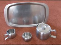 VINTGE 1960'S OLD HALL CONNAUGHT STAINLESS STEEL TEA SET