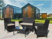 5 Piece Set Black Garden Furniture Rattan