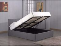 Fabric Storage Ottoman Bed Frame Grey Double Size-New & Strong Quality Bed Frame