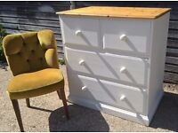 *FREE DELIVERY* Solid Pine Chest of Drawers in Cream Chalk ~ shabby chic ~ (dresser sideboard oak)