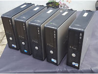 5 x PC Desktop Tower Dell Joblot Intel Dual Core and Core 2 3.5-4GB RAM 250GB HDD Win 7 or 10