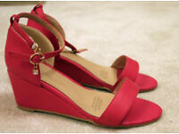Pink 7cm wedge sandal size EU 41 (UK7) - worn once at wedding