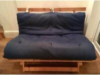 Navy futon double sofa bed with mattress and wooden base