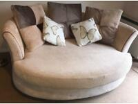 2 seater beige DFS 'cuddler' sofa - used