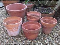 6 vintage terrcotta plant pots 3