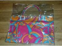 New colourful Cree pour clarins Paris bag