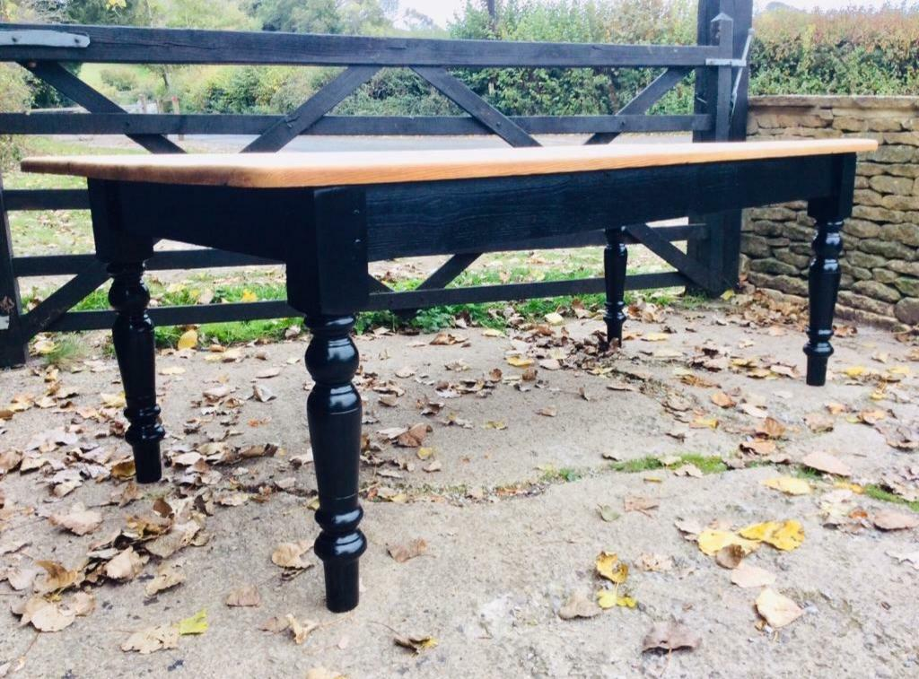 Tremendous Large 10 Seater 7 Ft Farmhouse Kitchen Dining Table Ebonised Black Base In Badminton Gloucestershire Gumtree Pabps2019 Chair Design Images Pabps2019Com