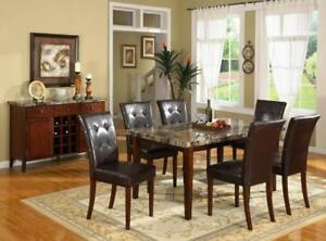 INVENTORY CLEARANCE Richi Collection Faux Marble Dining Table 4 Chairs