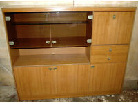 Illuminated Display/drinks cabinet (& single bed)
