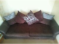 Large 4 seater brown couch