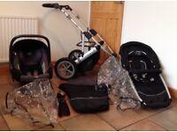 Britax Vigour 3 Wheel Travel System. Infant Car Seat/Pushchair