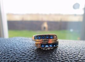 9ct Chunky Yellow Gold Sapphire & Diamond Ring Size M 1/2 Looks Brand New