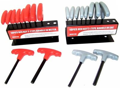 20 pc T Handle Type Hex Key Wrench Set Standard and Metric Sizes Allen (Allen Key Type)