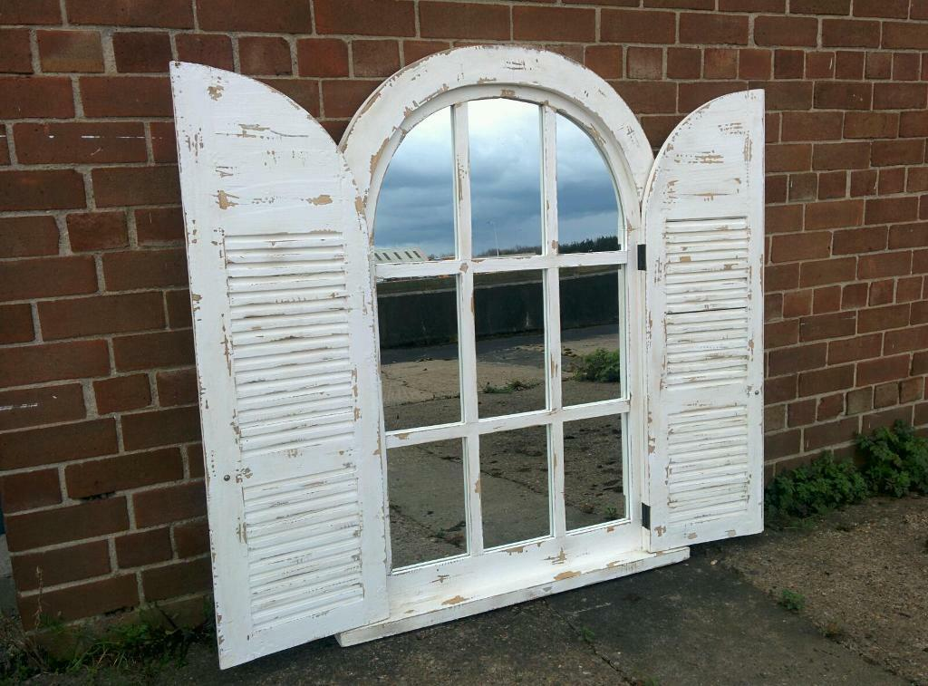Huge Arch Shutter Window Mirror Brand New Shabby Chic
