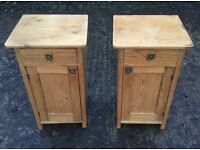 ANTIQUE PAIR OF PINE BEDSIDE CABINETS