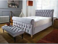 BUCHANAN BED DOUBLE/KING SIZE WITH/WITH OUT ORTHOPAEDIC MATTRESS DIFFERENT FABRIC AND COLOURS