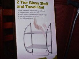 new unused 2 tier glass shelf unit with towel rail chrome finish with fixings